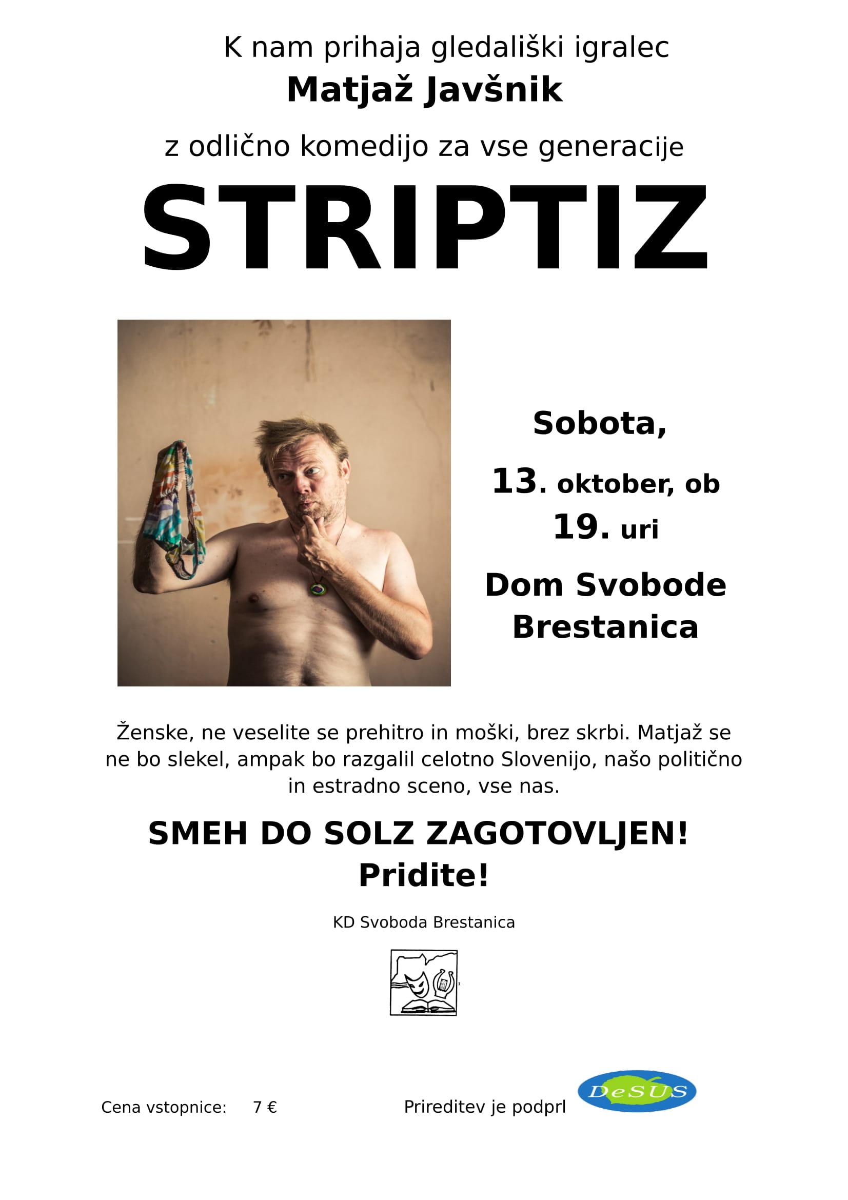 Vabilo na komedijo Matjaža Javšnika – STRIPTIZ